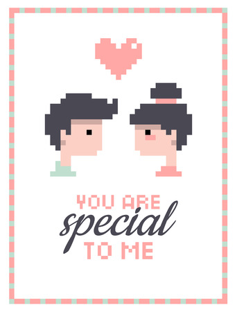 Romantic illustration of boy and girl in love for valentines card, save the date or wedding card pixel art.