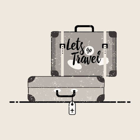 Retro suitcase with buckles, luggage of the traveler flat vector illustration.