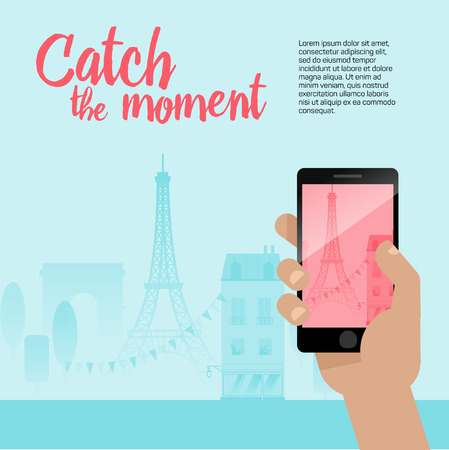 Taking a photo with a mobile phone. Modern flat style illustration with Tour Eiffel and other symbols of France. Travel banner.