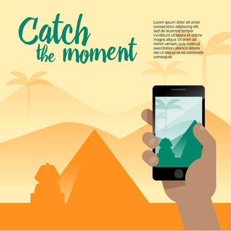Taking a photo with mobile phone camera in human hands on vacation time. Modern flat style illustration with a pyramid, Sphinx and other symbols of Egypt for travel banner.