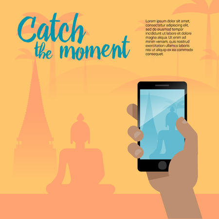 Taking a photo with mobile phone camera in human hands on vacation time. Modern flat style illustration with temple, Buddha and other symbols of Asia for travel banner.