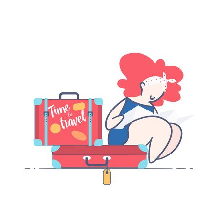 Tourist sitting on the suitcase and looking at a map flat style illustration.