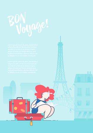 플랫 스타일 그림입니다. 파리의 여행 가방에 앉아 관광객
