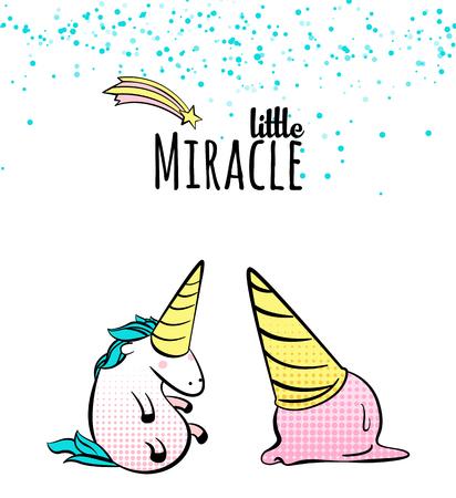 Magic unicorn vector illustration with ice-cream, stars, stardust and copyspace in pop art comic style. Ilustrace