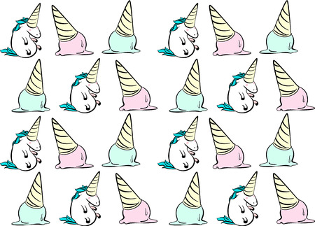 Magic unicorn vector seamless pattern with ice-cream in pop art comic style.