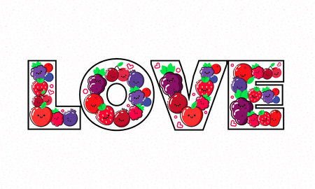 Healthy eating vector concept, word LOVE composed of berries and fruit for diet and organic food template.