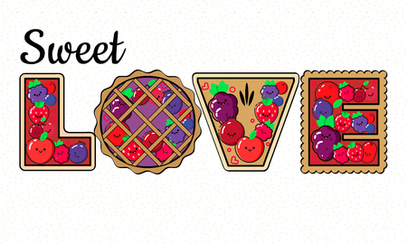 Healthy eating vector concept, word LOVE composed of berry pies as bakery template. Ilustrace