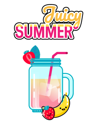 Hand drawn illustration of smoothie glass jar with strawberry, mint and banana on a white background. Juciy summer lettering Illustration