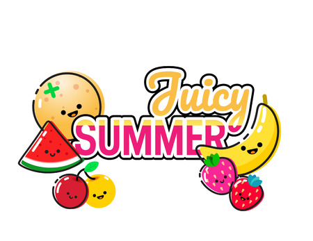 Hand drawn illustration of cute fruits and Juicy Summer lettering on a white background