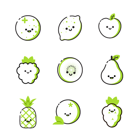 Collection of icons with two-tone fruits with smiles