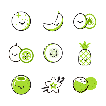 Collection of icons with two-tone exotic fruits 일러스트