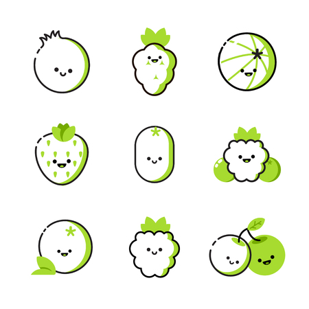 Collection of icons with two-tone berries