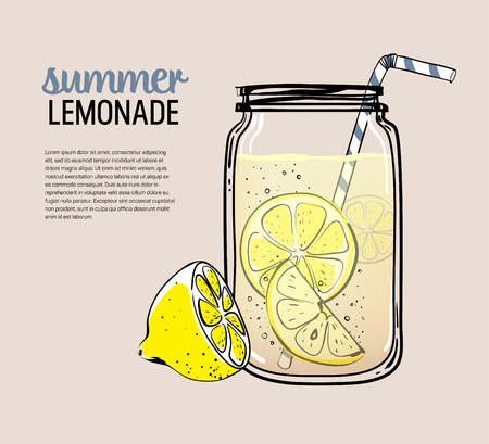 Hand drawn lemon, lemon slice, straw with place for your text,  glass jar with lemonade, a sketch of homemade lemonade, summer vector illustration, template Ilustrace