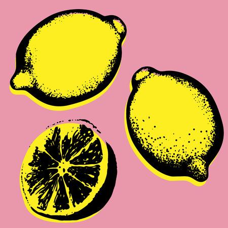 벡터 손으로 그린 된 레몬, 열 대 과일 팝 아트 스케치.
