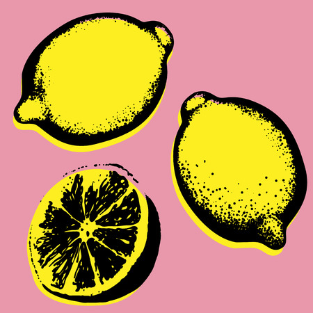 Vector hand drawn lemon, tropical fruit pop art sketch.