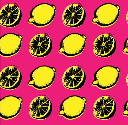 Vector hand drawn lemon seamless pattern pop art sketch