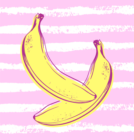 Vector hand drawn banana with striped background. Exotic tropical fruit. Sketch. Pop art. Perfect for invitations, greeting cards, posters. 일러스트
