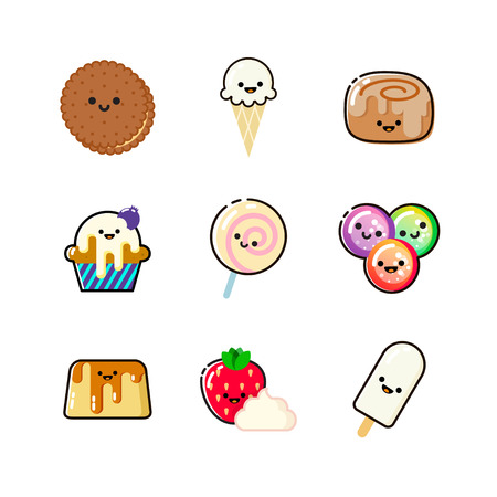 Funny dessert icon collection with faces