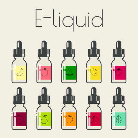 Icons of E-Liquid with different flavor