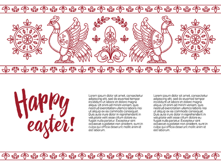 Easter template. Decorative horizontal stripe from eggs, birds and leaves, line style.
