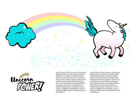 Magic unicorn vector illustration with rainbow, clouds, stars, stardust and copyspace. Sketch. Pop art.
