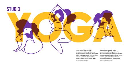 Template of poster for yoga classes. Flat design.