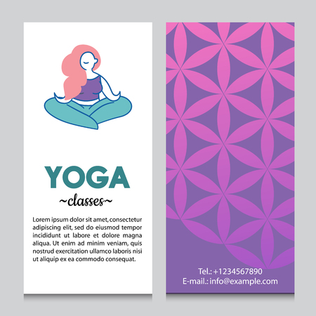 aura: Banner or flyer template for yoga retreat or yoga studio, flower of life pattern backdrop. Flat design.