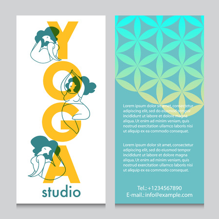 Banner or flyer template for yoga retreat or yoga studio, flower of life pattern backdrop. Flat design.