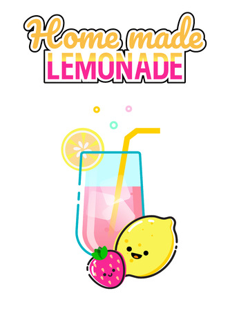Hand drawn illustration of pink lemonade glass with strawberry and lemon on a white background. Home made lemonade lettering