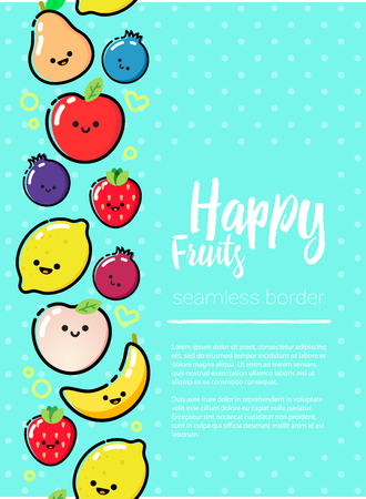 Frame of flat designed fruits with copyspace. Healthy eating vector concept for healthy magazines, cooking web sites and newsletters. Healthy lifestyle or diet design element.