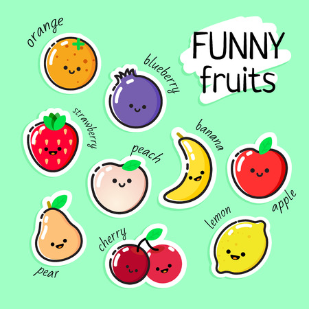 Collection of vector fruits stickers - can be used for learning food names with kids or as an element in healthy lifestyle design.