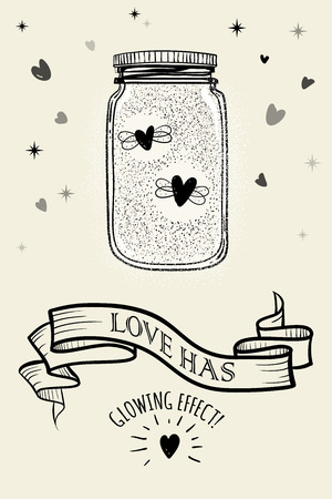 Romantic illustration. Sketched jars with hearts and  ribbon for your text. For valentines card, save the date or wedding card. 일러스트