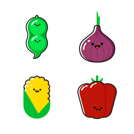 A set of cartoon vegetables illustration
