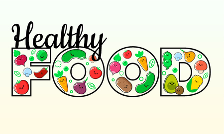 Healthy eating vector concept. Word FOOD composed of vegetables. Diet and organic food template. Great for healthy magazines, cooking web sites and restaurant newsletters. Ilustrace