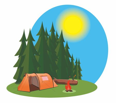 Tourist camp in a pine forest. There is an orange tent on the lawn. A bonfire burns nearby. Someone stuck an ax into a nearby log. Sunny summer day.