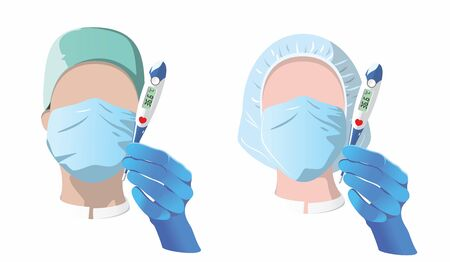 Doctors. Man and woman with a thermometer in their hands. Vector avatars. Flat design