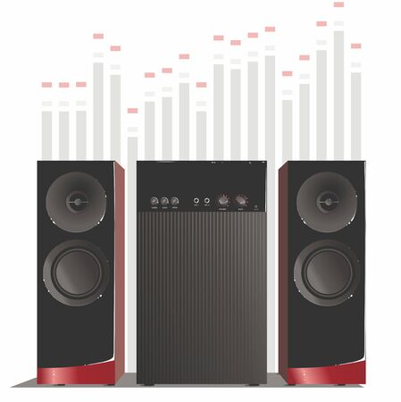 Black music speakers with red accents and a subwoofer, on the background of the equalizer