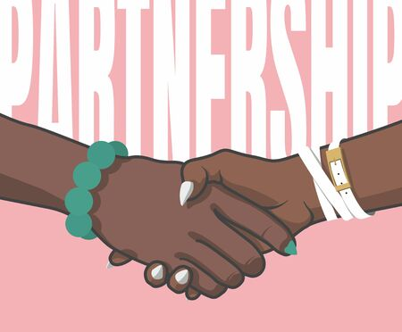 Partnership. Female handshake. Vector hands with bracelets and painted nails. Positive mood