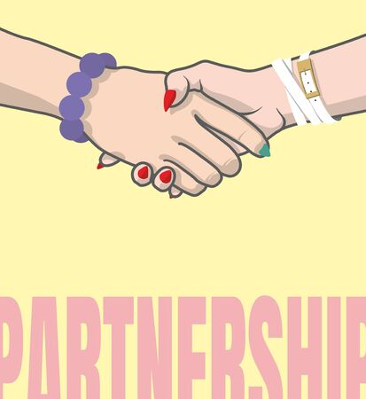 Partnership. Female handshake. Vector hands with bracelets and painted nails. Positive mood Stock Illustratie