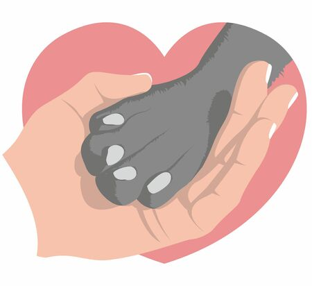The hand gently holds a dog's paw on the background of a pink heart. Symbol of love for dogs. Animal protecting community. Vector flat design.