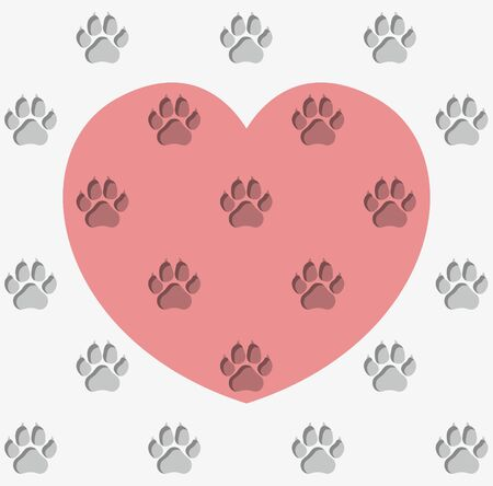 Endless pattern of dog paw prints on a pink heart background. Volume prints in gray and burgundy colors. Symbol of love for dogs. Animal protecting community.