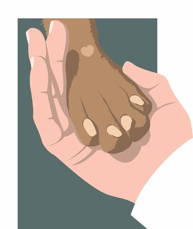 Hand gently holds a dog's paw on a green background. Symbol of love for dogs. Animal protecting community. Vector flat design.