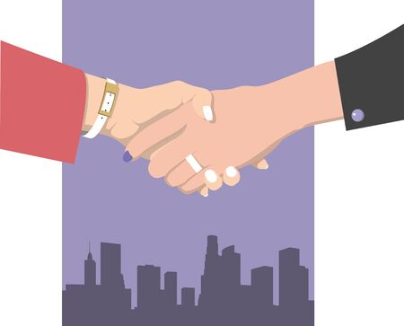 Female handshake. Flat design. Two business women in red and black clothes against the purple background of the metropolis shake hands Stock Illustratie