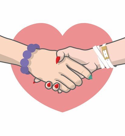Same-sex marriage. Civil partnership. Handshake on the background of a pink heart symbolizes the union of lesbians
