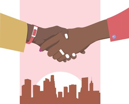 Female handshake. Flat design. Two business women in red and mustard clothes against the pink background of the metropolis shake hands Stock Illustratie