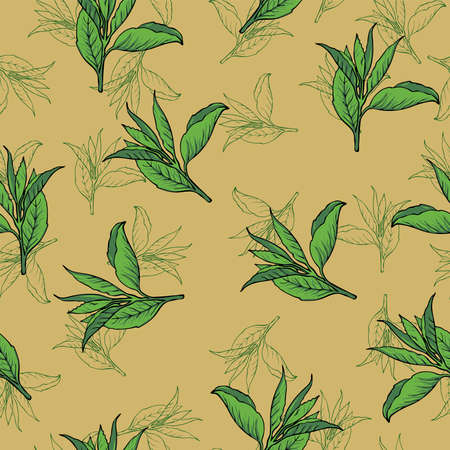 Seamless pattern with green tea leaves on pastel yellow background. Hand drawn vector illustration. Иллюстрация