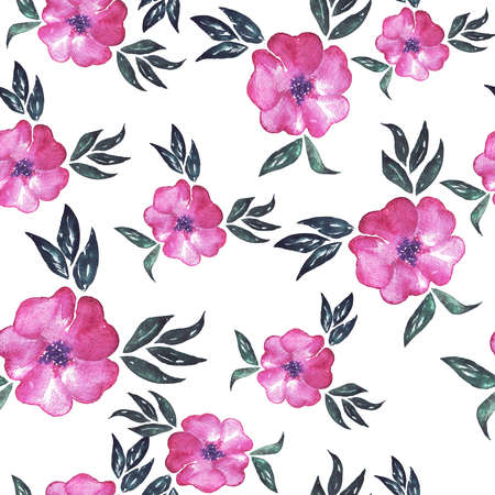 Seamless pattern with wild flowers painted by . Hand drawn illustration.