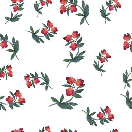 Seamless pattern with abstract pink flowers painted by watercolor. Hand drawn illustration. Banco de Imagens