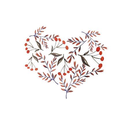 Autumn leaves and berries. Hand drawn illustration. Ilustração