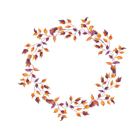 Abstract autumn branch frame on white background .. Design for greeting card or invitation. Hand drawn watercolor illustration.